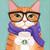 Ginger Coffee Hipster Cat Original Folk Art Painting