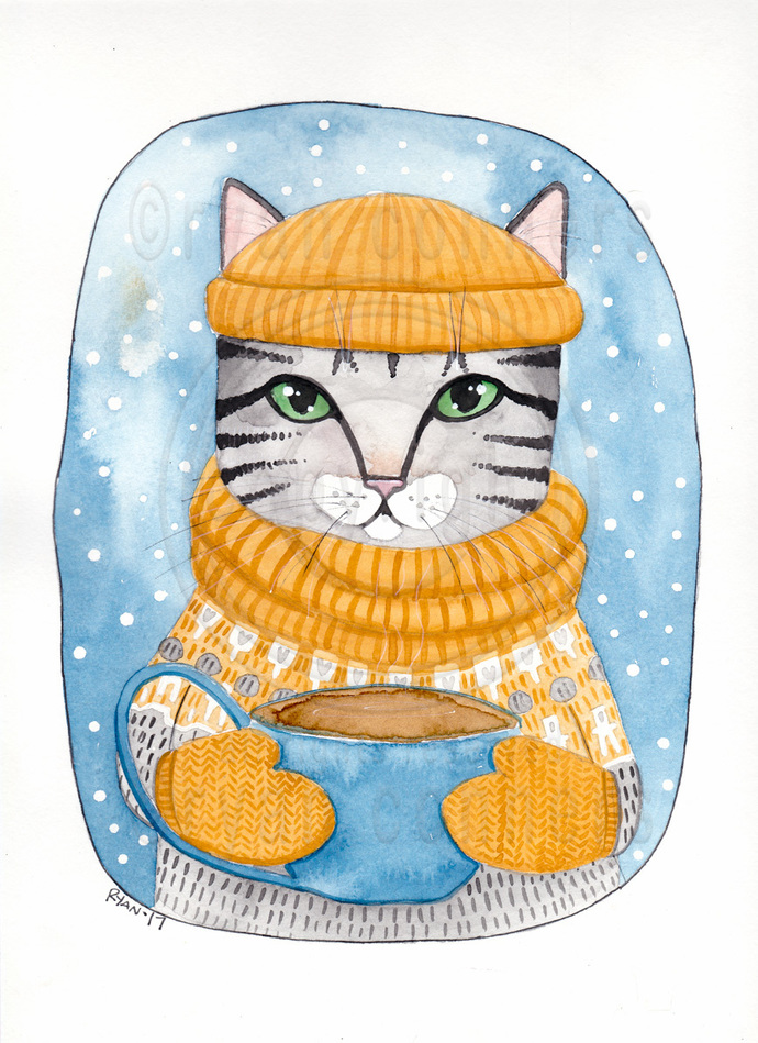 Snowy Day Cup of Coffee Cat Original Folk Art Watercolor Painting