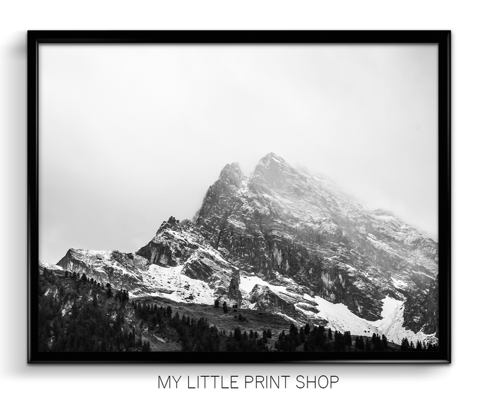 Black and white snowy mountain prints mountain wall art mountain photography