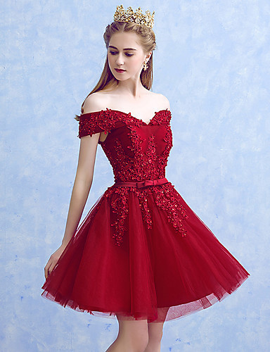 Short Princess Mini Tulle Evening Cocktail Back Dress with Appliques