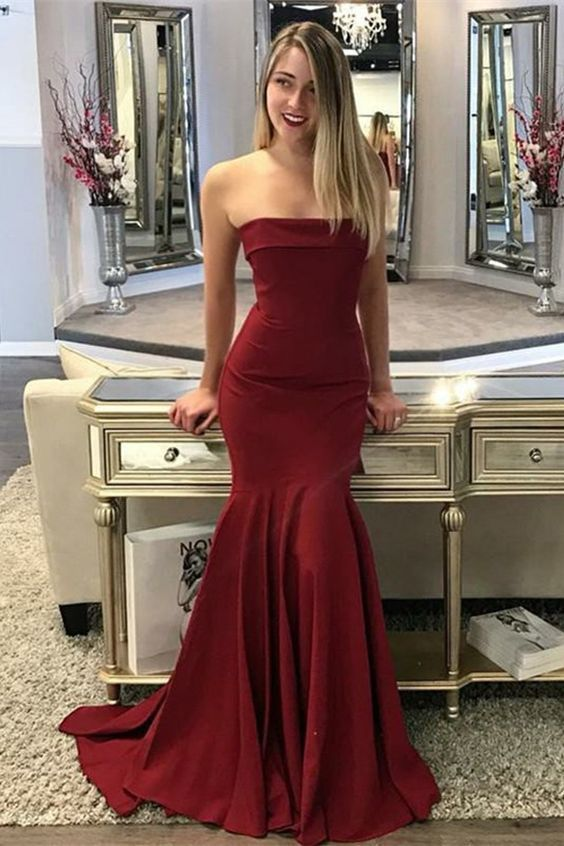 Mermaid Strapless Sleeveless Sweep Train Burgundy Prom Dress