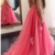 Water Melon Tulle Backless Prom Dresses Modest Sheer Neck Lace Appliques Evening