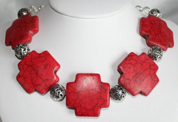 Big Red Cross Cowgirl Rodeo Statement Necklace, Chunky Bold Turquoise Bead