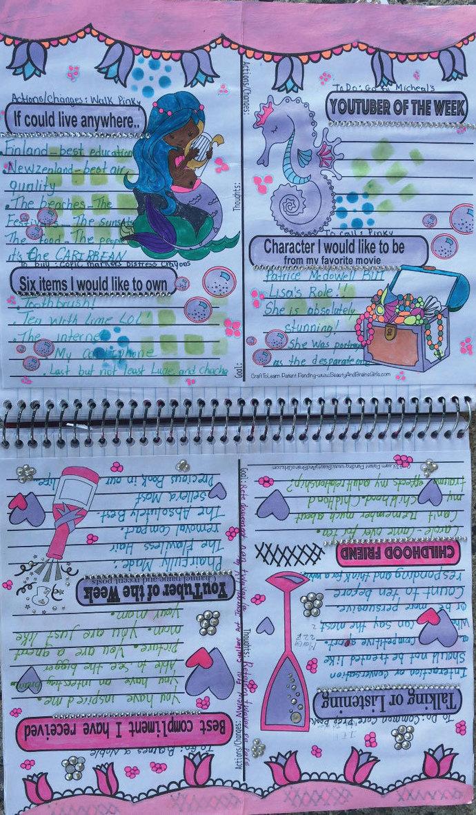 YouTuber Art Journal-Mermaid Instant Download-Happy Planner- Bullet