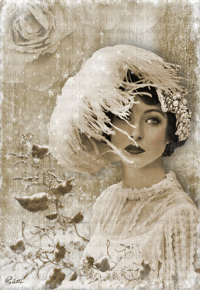 Winter Beauty Digital Collage Greeting Card7022