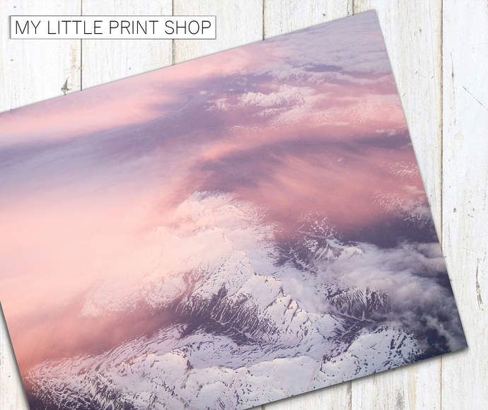 Pink Sunrise Snow Mountain Landscape Photography