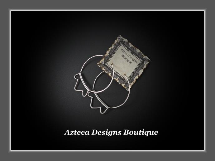 Hand Fabricated Flower Lotus Argentium 935 Silver Hoop Earrings