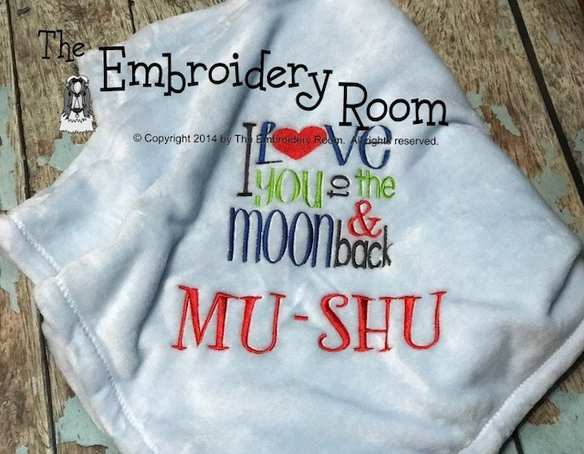 I Love You To The Moon and Back -  Custom Embroidered-Family Size Blanket