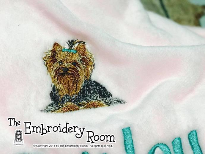 Yorkshire Terrier Embroidered Dog Blanket