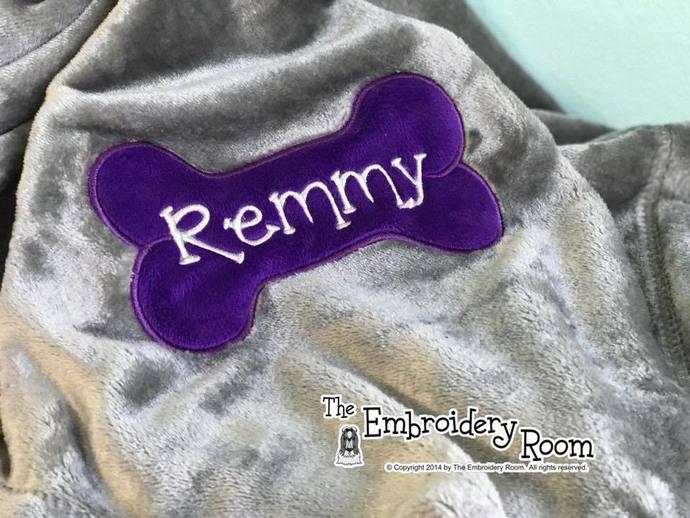 Dog Bone Blanket-Minky Applique-Personalized-Pet Size