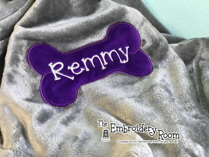 Dog Bone Blanket-Minky Applique-Personalized-Family Size