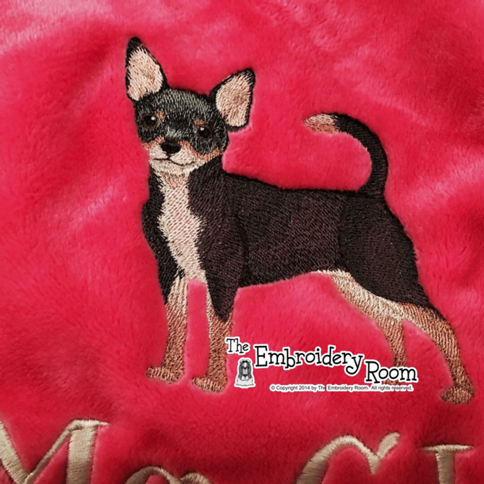 Chihuahua - Black and Tan -Custom Embroidered Blanket