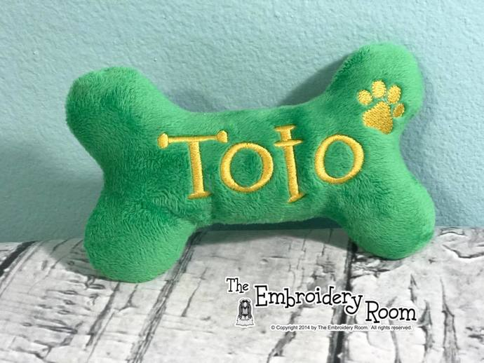 Bone Shaped-Squeaky Toy With Paw Print