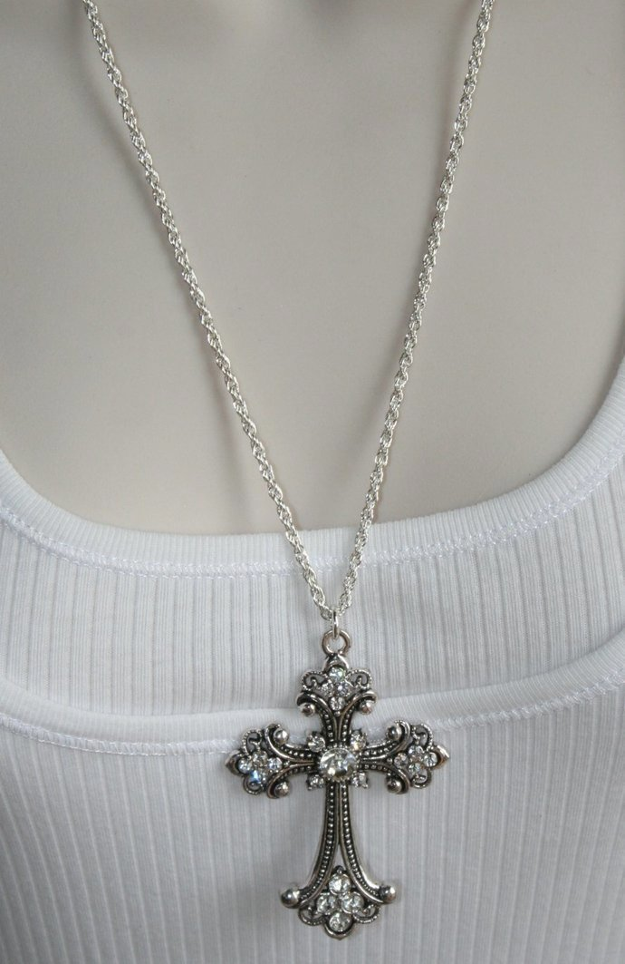 Large Crystal Retro Cross with Silver Plated Chain Necklace, Rustic Rhinestone