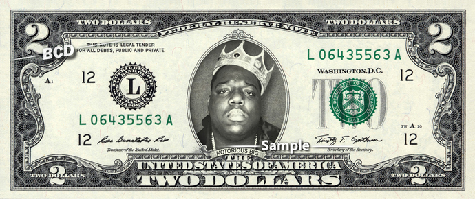 NOTORIOUS BIG on REAL Two Dollar Bill Cash Money Bank Note Currency Dinero