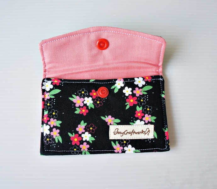Black Floral Snap Fabric Business Card Holder