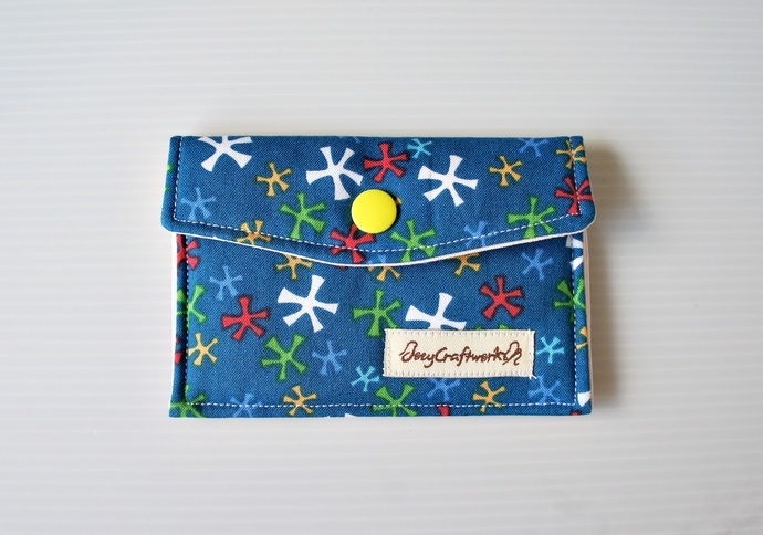 Blue Fabric Snap Card Holder