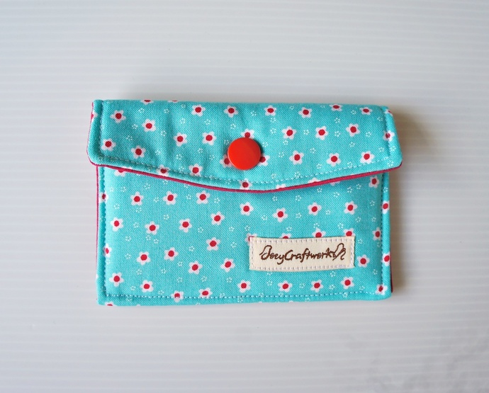 Turquoise Floral Fabric Snap Card Holder