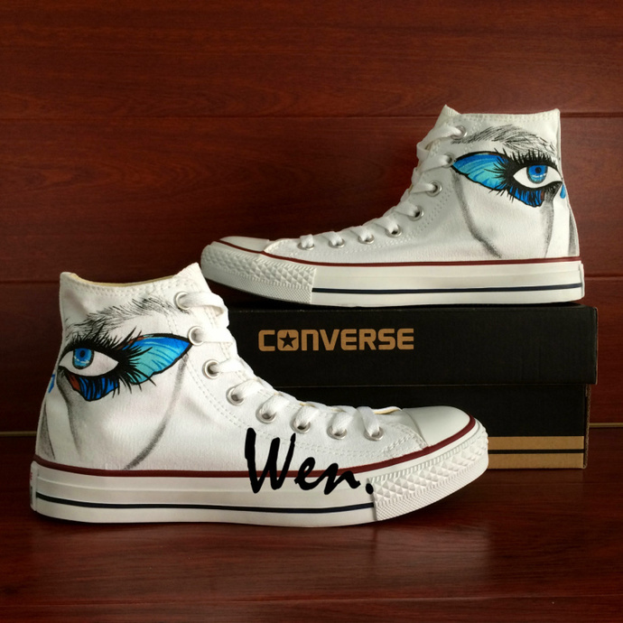 97de8ec3c8f9 Custom Design Hand Painted Converse Shoes Eye Make-Up Butterfly Painting