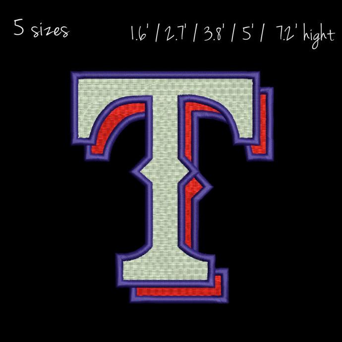 Texax Rangers embroidery design,Baseball logo,pes files,towel pattern,instant