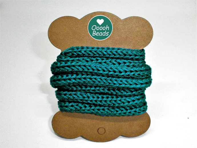 Teal Green 100% Cotton Cord for Beading and Jewelry Making, Handmade Cord