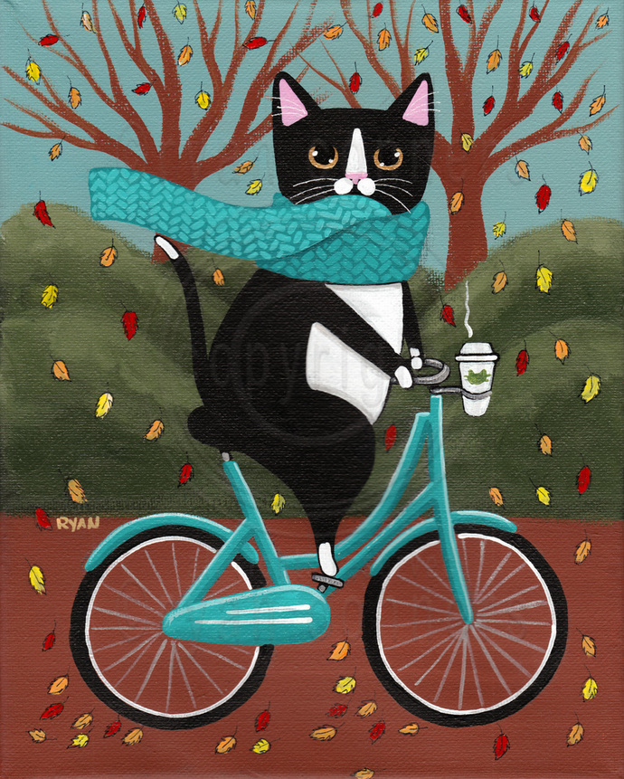 Fat Tuxedo Cat on a Bicycle with Coffee Original Cat Folk Art Painting