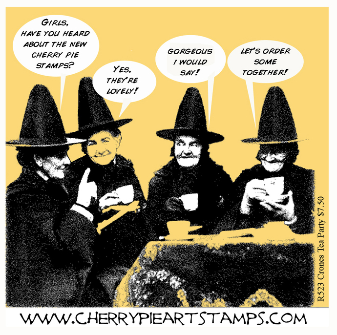 WITCHES TEA PARTY -Crones- CLiNG RuBBer STaMP by Cherry Pie R523