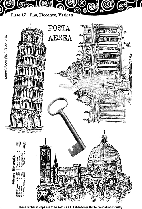 Pisa, Florence, Vatican, Italy -Set of unmounted rubber stamps by Cherry Pie