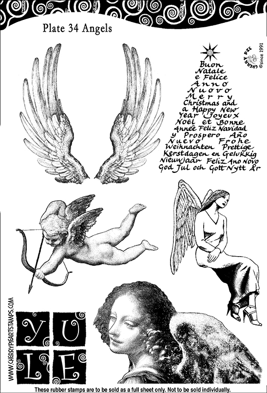 ANGELS -Set of unmounted rubber stamps by Cherry Pie PL34