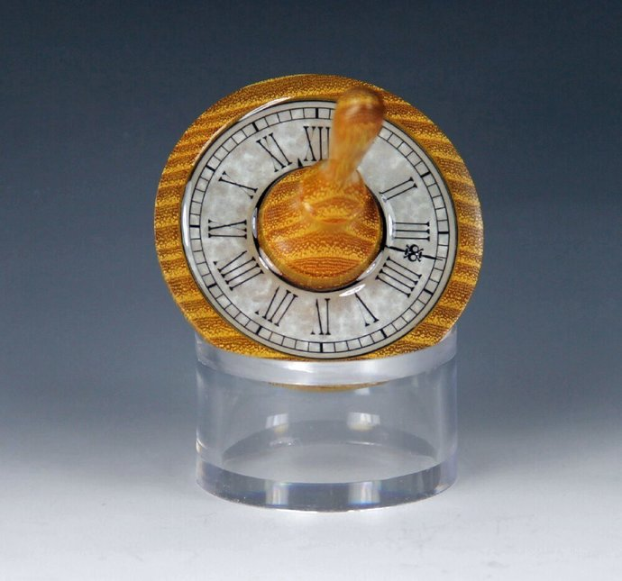 Handmade Toy Spin Top, Texas Osage Orange Wood with Faux Clock Inlay