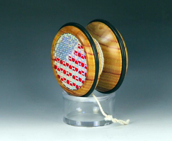 Handmade Toy YoYo, Fixed Axle Butterfly, Brazilian Canarywood with Patriotic USA
