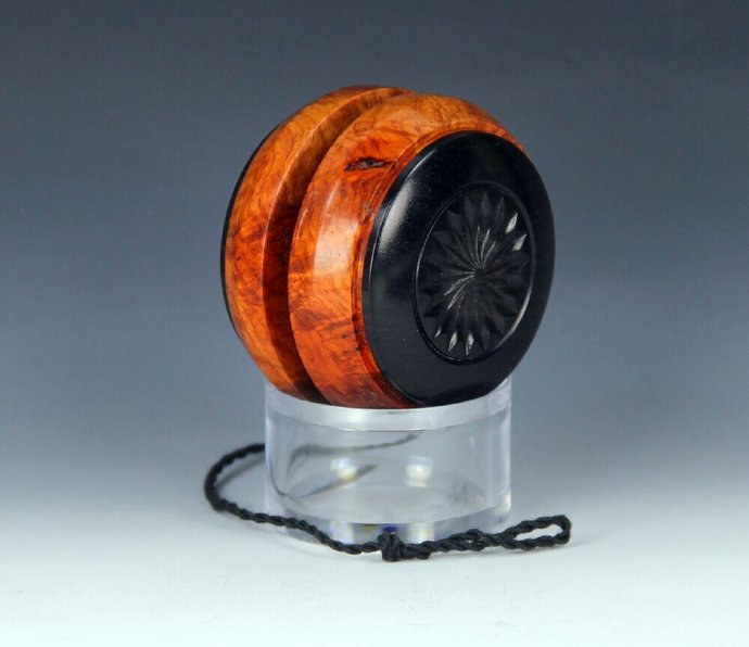 Handmade Toy YoYo, Fixed Axle Imperial, Exotic Asian Amboyna Burl and African