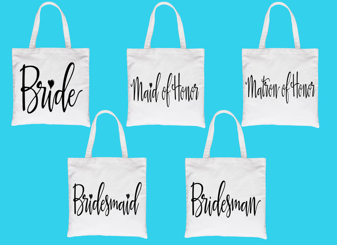 Custom Bridal Party Tote Bag Set, Customizable Tote Bag Set