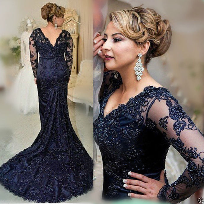 Dark Navy Plus Size Elegant 2018 Prom Dresses,Prom Dresses,Formal Women