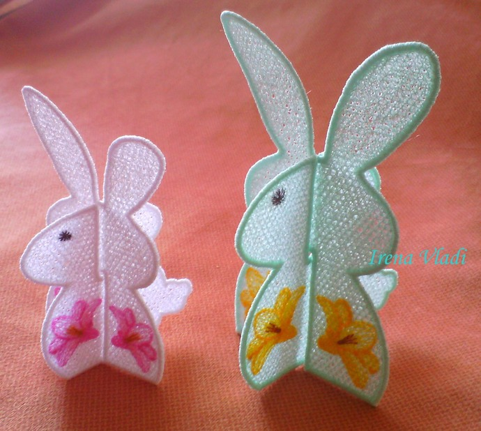 Fsl 3d Easter Bunny With Lilies Free Standing By Embdesign4u On Zibbet