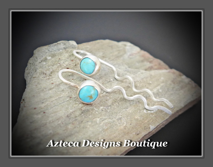 Lightning~ Teeny Tiny Kingman Turquoise Argentium 935 Silver Ear Hugger Earrings