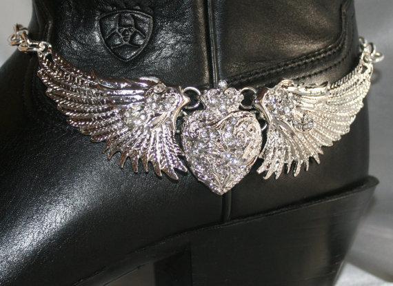 Rhinestone Angel Wing Cowgirl Boot Bracelet, Silver Cowgirl Statement Choker,