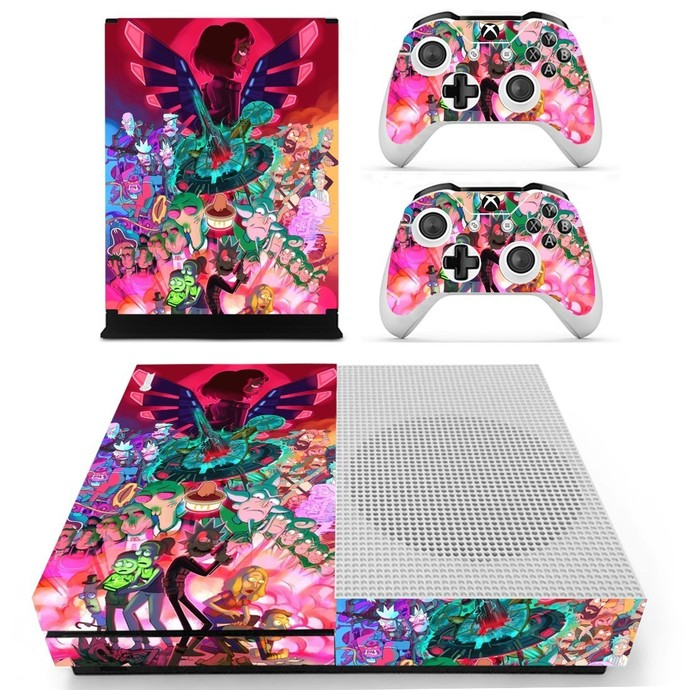 Rick and Morty fan art decal skin for xbox one S console and 2 controllers
