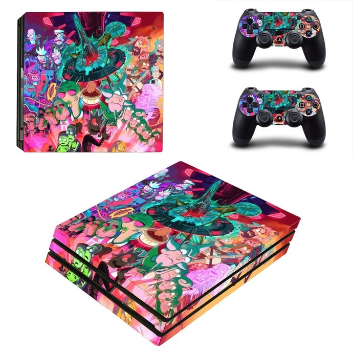 Rick and Morty fan art PS4 PRO edition skin Sticker decal Console and