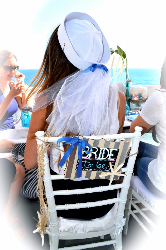 Nautical Bride Sailor Hat with Handmade Veil, Custom lettering, Perfect for a