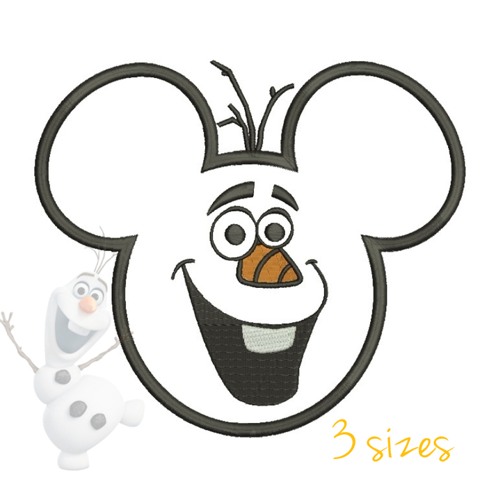 Mickey head Olaf embroidery designs
