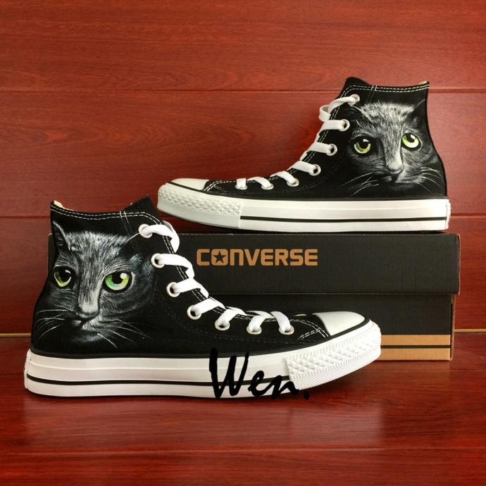 Custom Design Hand Painted Shoes Pet Cat Graffiti Shoes Mens Womens Black