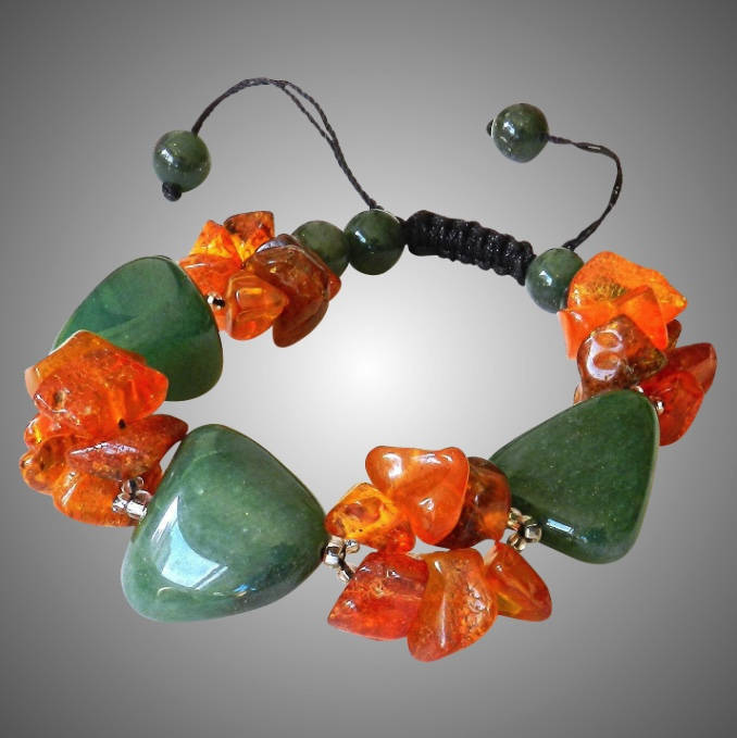Green Aventurine with Baltic Amber Bracelet