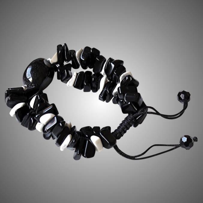 Black Agate Bracelet with Black Obsidian and Howlite