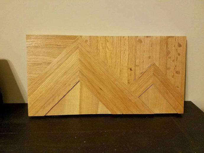 Wooden wall art, cabin decor, mountain scene made from oak