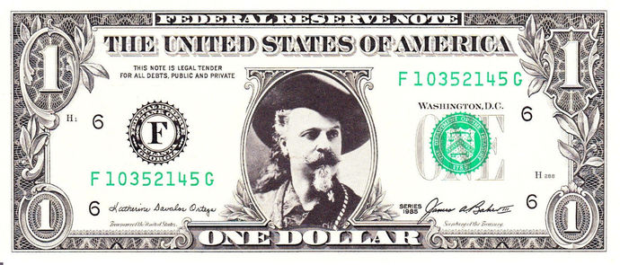 BUFFALO BILL Cody Real Dollar Bill Cash Money Collectible Memorabilia Celebrity