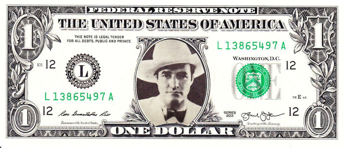 TOM MIX Real Dollar Bill Cash Money Collectible Memorabilia Celebrity Novelty