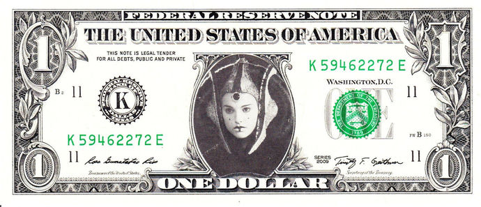 QUEEN AMIDALA Star Wars Real Dollar Bill Cash Money Collectible Memorabilia