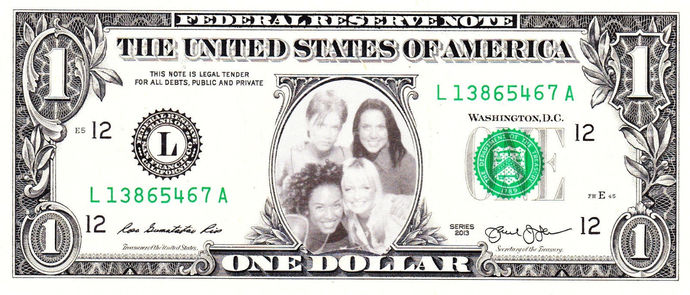 SPICE GIRLS on Real Dollar Bill Cash Money Collectible Memorabilia Celebrity