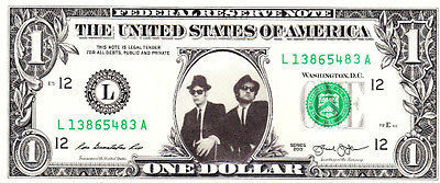 BLUES BROTHERS on Real Dollar Bill Cash Money Collectible Memorabilia Celebrity